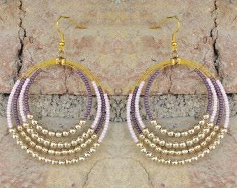 Handmade Pink, Purple and Golden-Silver Beaded Hoop Earrings