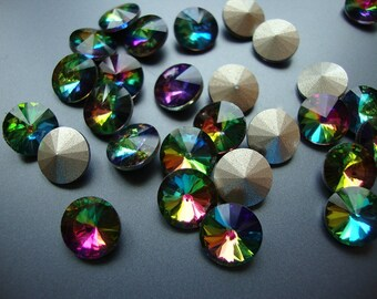 5 Colors - Crystal Glass Rhinestone Rivoli Cabochon Cab 10 mm 1122