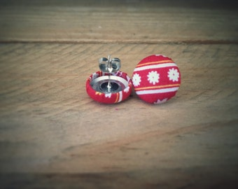 Red Earrings. White Floral Earrings. Handmade Earrings. Fabric Button Earrings. Gifts For Her. Gift Under 20. Stud Earring. Clip On Earring.