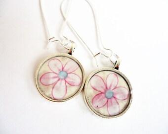 Pink Daisy Drop Earrings