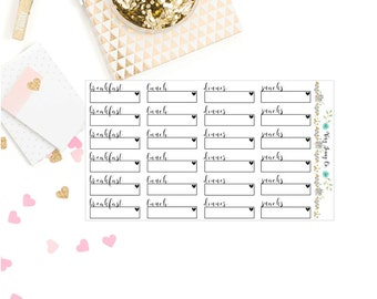 Meal Planner stickers / Breakfast/ Lunch/ Dinner/ Snacks/ Stickers