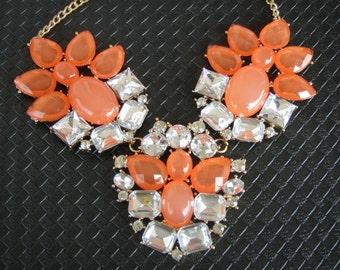 Bib necklace, Crystal necklace, statement necklace, orange necklace, Short necklace, short necklace orange, modern necklace