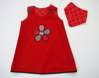 Reversible Girl's A line Dress with matching bandana