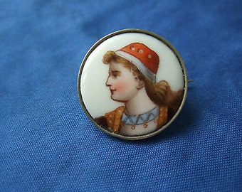 Antique Victorian MIniature Potrait Porcelain Pin Brooch