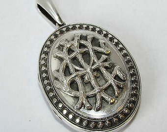 Antique Victorian Solid Silver Amity Eternity Infinity Locket/Pendant
