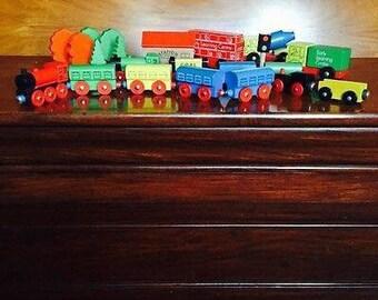 Vintage Wooden Train Set & Accessories