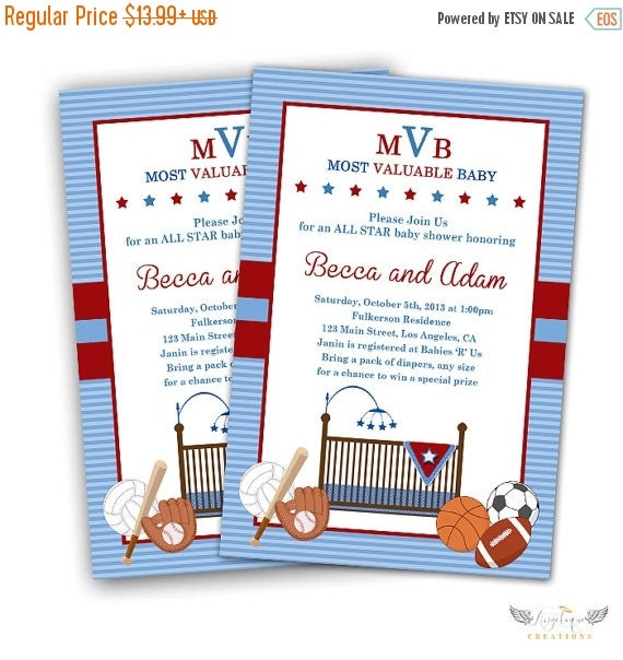 ON SALE All Star Baby Shower Invitations & Blank Thank You Card to match