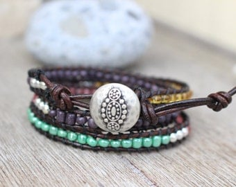 Wrap Bracelet Triple Wrap with Seed Beads