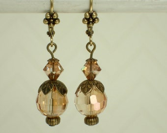 Orange Faceted Glass and Swarovski Crystal Earrings