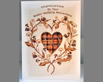 Special Wishes Large Thistle Heart Gold Anniversary Card SW WE11