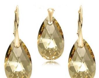 Swarovski Elements Earrings pendant sterling silver goldplated wedding earrings pendant Golden Shadow