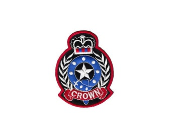 Cute Black Blue Cross Crown Fleur De Lis Star Embroidered Iron On Sew Patches Patch Appliques Applique Biker For Jackets Jeans