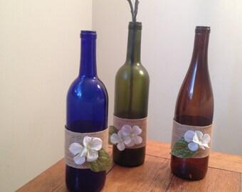 12 Burlap Wine bottle centerpieces  (case discount for your event) 3 color options