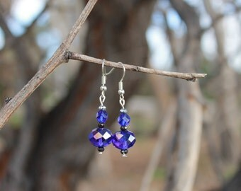 Dark Blue Swarovski Crystal Dangle Earrings