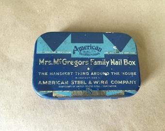 Vintage Tin Mrs McGregors Family Nail Box