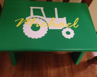 Personalized Stool, Little Kid Step Stool, Boy Step Stool, Tractor