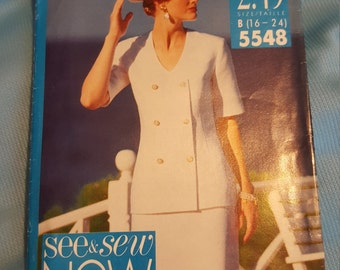 1991 See and SEW #5548 sizes 16 - 24 UNCUT