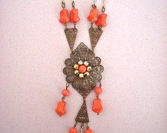 jwg Art Deco Nouveau vintage 20's coral glass pendant necklace