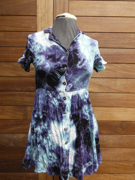 Vintage Tie Dye Blue White Dress - Petite Size XS 6 8