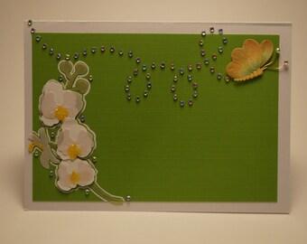 Handmade Green Flower and Butterfly Card