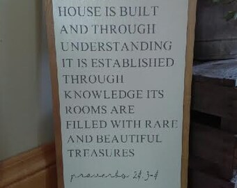 By wisdom a house is built...... Proverbs 24:3-4