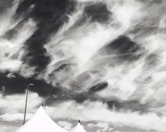 Black & White Photography, Street Photography, Street Fair, Vendor Tents, Cloudy Sky, Digital Downlozd, Wall Art