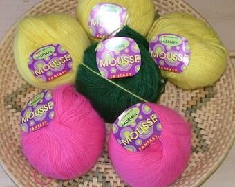 Lot of 6 skeins of Adriafil Mousse Fantasy Crochet Knit