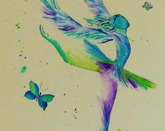 "water blue ballerina, watercolour print, 6"" x 4.5"""