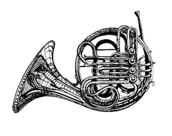 Digital Download Printable French Horn Illustration