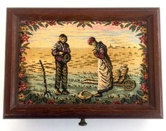 Vintage tapestry Jewellery box