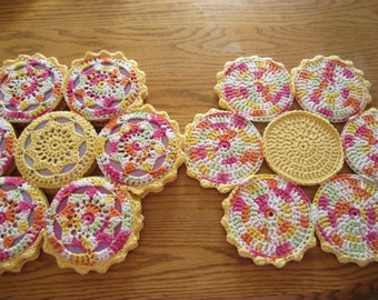 Bright Multi-Colored Crocheted CD 4 Placemat Set, Recycled CDs, Placemat Set, Flower Placemat,