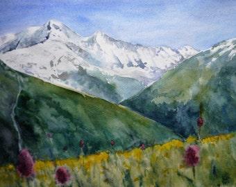 Original watercolor painting - Mountains, nature