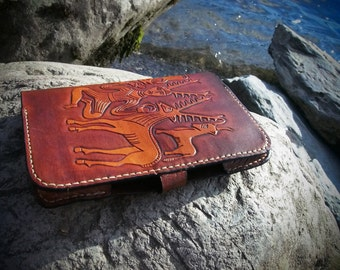 leather kindle case, celtic desing, gundestrup