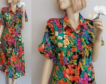 vintage Miss Darby Tropical Floral cotton Midi Dress L