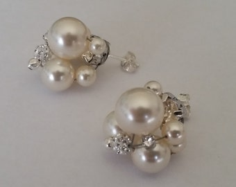 Swarovski Pearl and Crystal Earrings with 925 Silver Post and Back