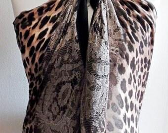 Premuim Quality Leopard Print Scarf With Lace - Black
