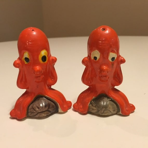 Funny Orange Octopus Salt And Pepper Shakers From The