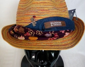 15% Discount Seasons Sale.FUNKY BLOSSOM & INDIGO hat band.Tencel.Cotton Japanese Print.Blossoms.Twister Style.Tie back.Metal Dragonfly Logo.