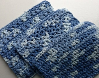 Crocheted cotton dishcloths - set of 3 - blue
