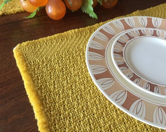 Vintage Retro mustard yellow woven placemats x 8