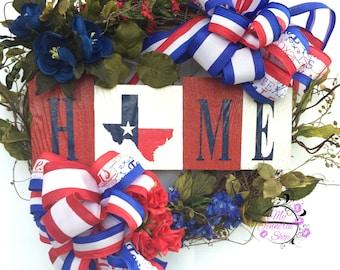 Texas Wreath - Home Wreath - Welcome Wreath - Patriotic Wreath - Home Decor - Door Decor - Door Wreath