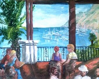 Original Impressionist Oil Painting on the Harbor