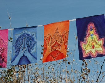 MUDRAS prayer flags Healing art Spiritual Yoga Reiki decor Health Chakra Energy Soul Body Mind BALANCE Harmony Awakening Holistic