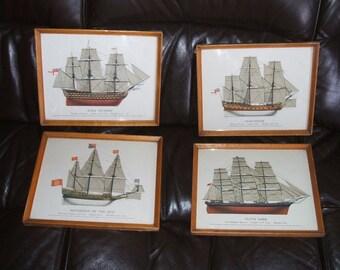 4x Retro Ship framed prints navy Sovereign of sea Cutty Sark Gloucester hms Victory