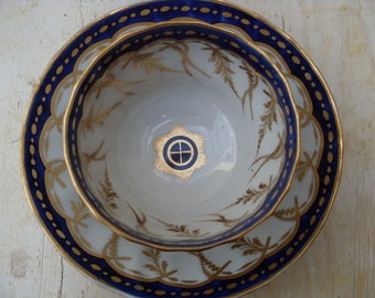 Vintage New Hall Porcelain Tea Bowl Duo Set 18th Century Tea Bowl and Saucer Blue and Gold Gilt pattern #248 1795