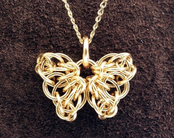 "Tiny Celtic Butterfly Chainmail Pendant - 14kt Gold Fill with 18"" Chain"