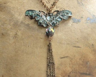 Boho Jewelry Tribal Hippie Jewelry Necklace Bohemian Jewelry Patina Butterfly Moth Crystal Jewelry Gift Best Friend Gift for her Gift ideas