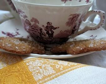 Tea Napkins, Set of 6, Linen Damask, Chrome Yellow