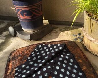 Japanese Indigo Cotton KASURI Large Polka Dot Fabric