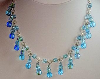 Czech fire polish bead drop necklace